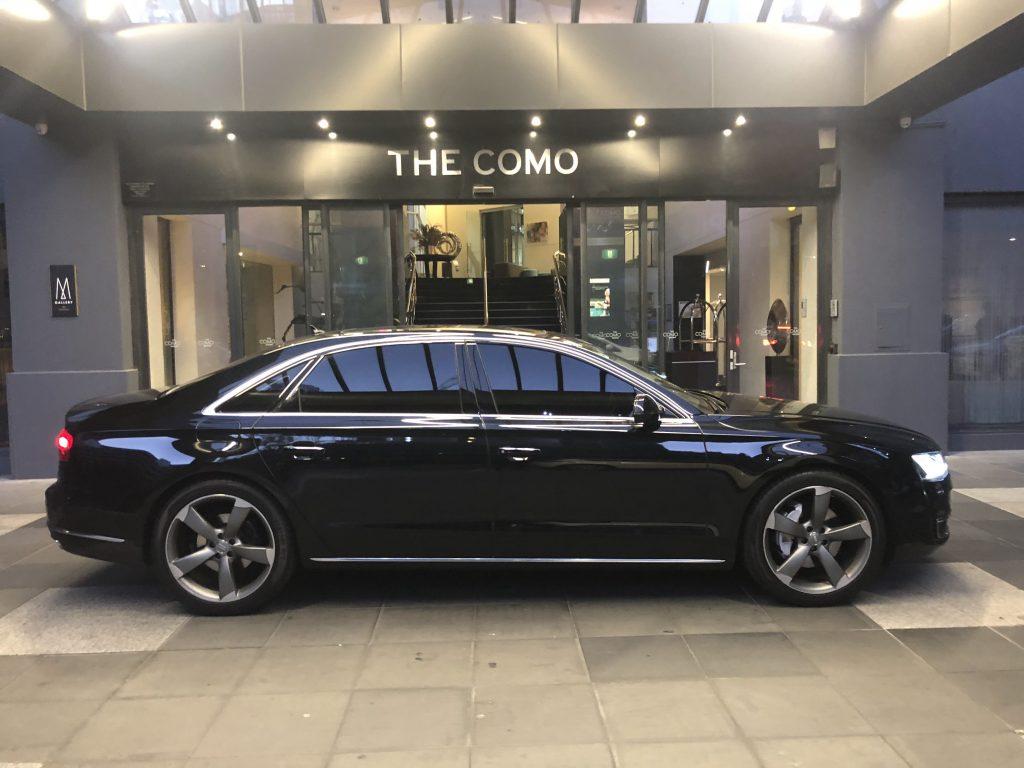 Audi A8 Chauffeur car at The COMO hotel